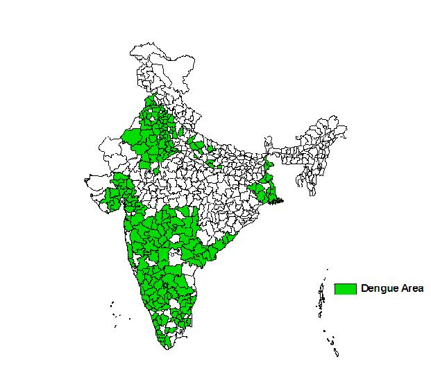 Répartition de la dengue en Inde (source: nvbdcp.gov.in)
